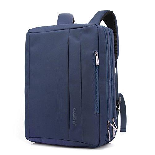 CoolBELL 17.3 inches Convertible Laptop Messenger Bag Oxford Cloth Shoulder Bag Backpack Multi-Functional Briefcase for Laptop/MacBook/Tablet Men/Women (Blue)