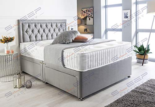 Sleep Factory's Grey Suede Chesterfield Divan Bed Set & Memory Foam Mattress 3FT Single 4FT6 Double 5FT King (3.0FT (Single), 2 Drawers (Same Side))