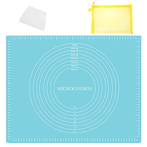 Extra Thick Silicone Baking & Pastry Mat with Measurements, Non-Stick, Non-slip, Countertop Safe, EZ to Clean. Great for Rolling Dough; Kneading Fondant; Cut Pasta; Make Pizza, Cookies. 19.6' x 15.7'
