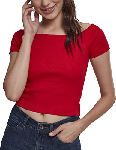Urban Classics Damen Ladies Off Shoulder Rib Tee T-Shirt, Rot (Fire Red 00697), Medium (Herstellergröße: M)