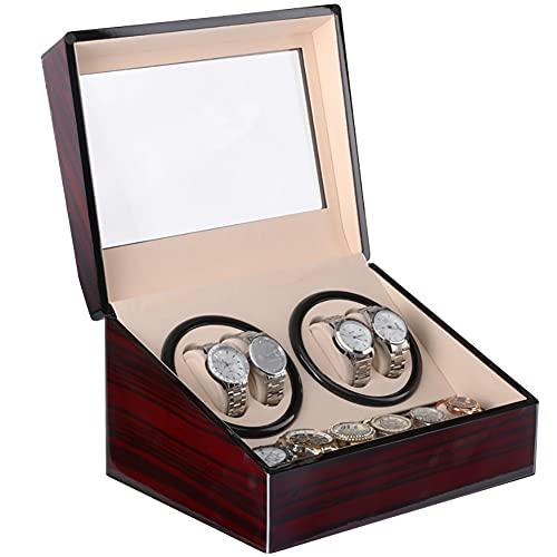 zjyfyfyf Reloj automático Winder 4 + 6 Wooden Watch Box Watches Storage Regalos (Color : Rojo)
