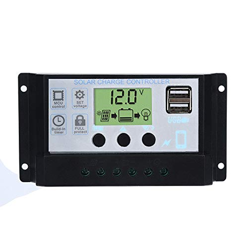 Javpoo Controlador de Carga del regulador del Panel Solar USB 60A 12V-24V con Cargador USB Dual