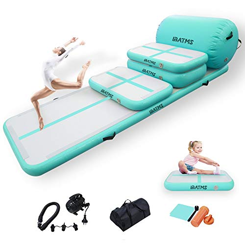 DAIRTRACK IBATMS Air Tumble Track Mat,5 PCS Inflatable Gymnastics Air Mat for Gymnastics Training/Home Use/Cheerleading/Yoga/Water with Electric Pump