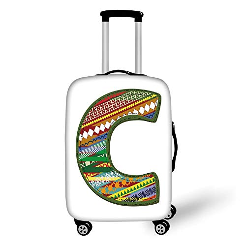 Travel Luggage Cover Suitcase Protector,Letter C,Ornamental Design Multicolor Digitally Constructed Image ABC...