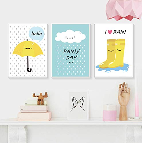 High-end elegante decoratie Cartoon regenachtige dag regen laarzen paraplu Engels alfabet Canvas Art Abstract schilderij Print Poster foto muur slaapkamer decoratie