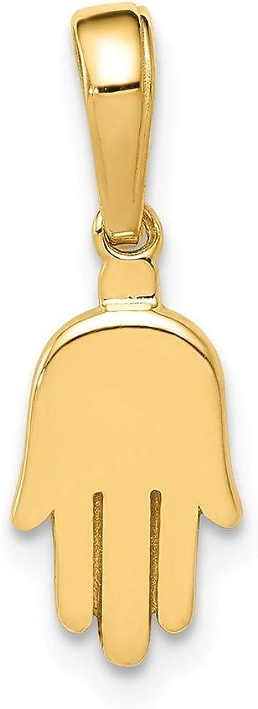 14k Yellow Gold Small Solid Hamsa Pendant Charm - 18mm x 7mm