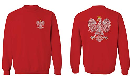 Poland Pride Vintage Style Retro Polish Eagle Flag Polska Soccer Men's Crewneck Sweatshirt (Red, X-Large)