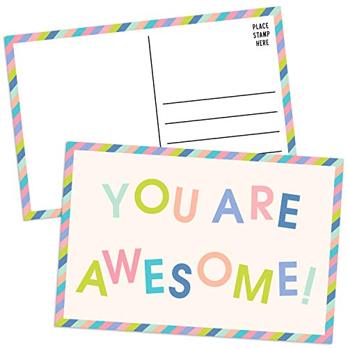 Sweetzer & Orange You Are Awesome Cards Postcards Pack (60 Post Cards) 4x6 Postcards for Kids and Adults. Positive Affirmations Cards, Kindness Cards, Employee Appreciation Awesome Notes