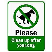 金属の救済、あなたの犬の後に緑のテキストでクリーンアップしてください、錫の壁の看板レトロな鉄の塗装金属のポスター警告プラークアートガレージホームガーデンストアバー