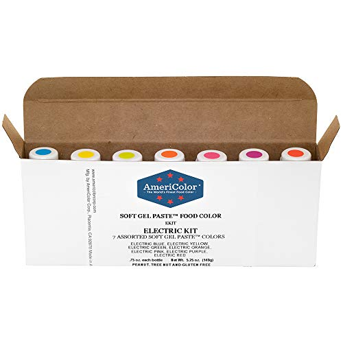 AmeriColor Food Coloring - Electric Kit - Soft Gel Paste, 7 .75 Ounce Bottles