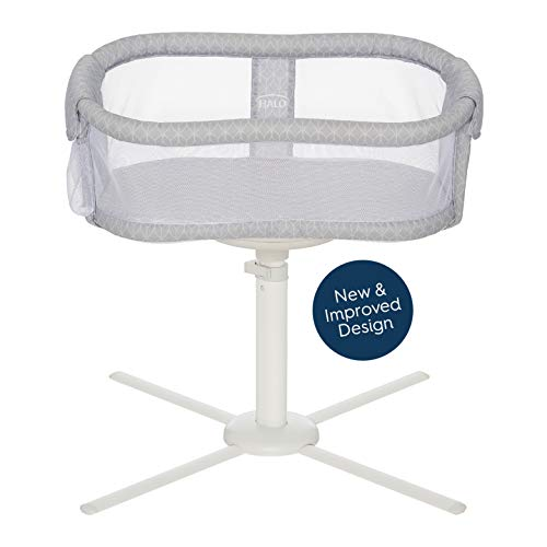 HALO Bassinest Swivel Sleeper Bassinet - Essentia Series, white , Blue ikat