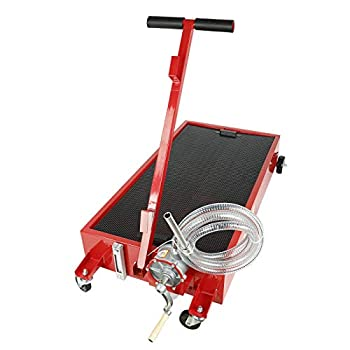 SUPERFASTRACING 20 Gallon Oil Drain Pan Low Profile Dolly with Pump 8  Hose and Wheels Car Truck