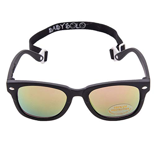 Baby Solo BabyBoo Master Baby Sunglasses Vintage, Soft, and Safe (0-24months) (Matte Black Frame w/Pink Mirror Lens, 0-24 Months)