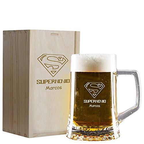 Regalo Personalizado para Novios: Jarra de Cerveza 'supernovio' grabada con su Nombre en Estuche de Madera también Grabado