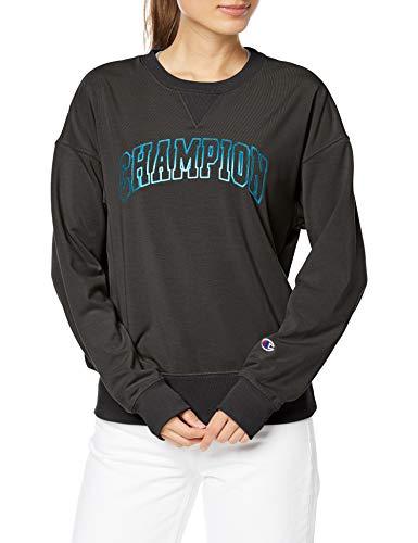 [チャンピオン] スウェット ストレッチ UVカット ワンポイントロゴ クルーネックスウェットシャツ ウィメンズ スポーツ CW-TS010 ブラック M