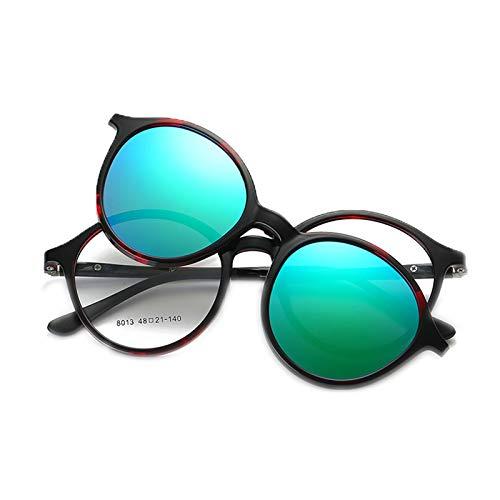 Huachaoxiang Männer Frauen Vintage Dicker Runder Rand Rahmen Brille, Magnetclip Für Brille Optische Brillenrahmen Brille Blocks Harmful Rays Machen Landschaft Klarer Und Weicher,C