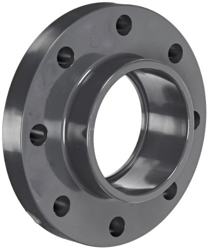 GF Piping Systems PVC Pipe Fitting, Flange, Schedule 80, Gray, 4 Slip Socket by GF Piping Systems