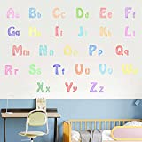Colorful Letters Wall Decals Large Watercolor ABC Wall Decals Removable Alphabet Wall Stickers for Kids Room Toddlers Bedroom Classroom Decor
