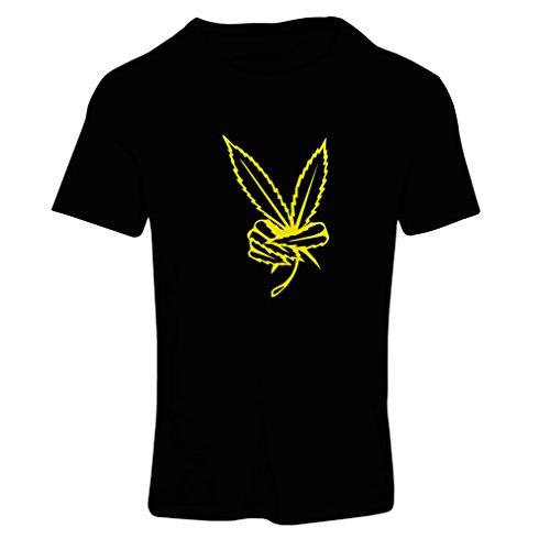 lepni.me T-Shirt Femme Feuille de Marijuana, Signe de la Paix, Festival Hippie des années 60 à 70 (Small Noir Jaune)