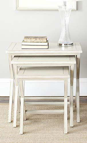 Safavieh American Homes Collection Maryann Antiqued White Stacking Tray Tables