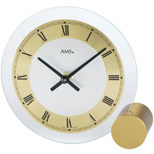AMS Tischuhr 168 Quarz messinglackierter Metallsockel, Mineralglas