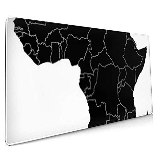 Langes Mauspad (89,9 x 39,9 cm) Landkarte Afrika, Schreibtischunterlage, Tastaturmatte, rutschfeste Unterseite, wasserabweisend, für Arbeit & Gaming, Büro & Zuhause