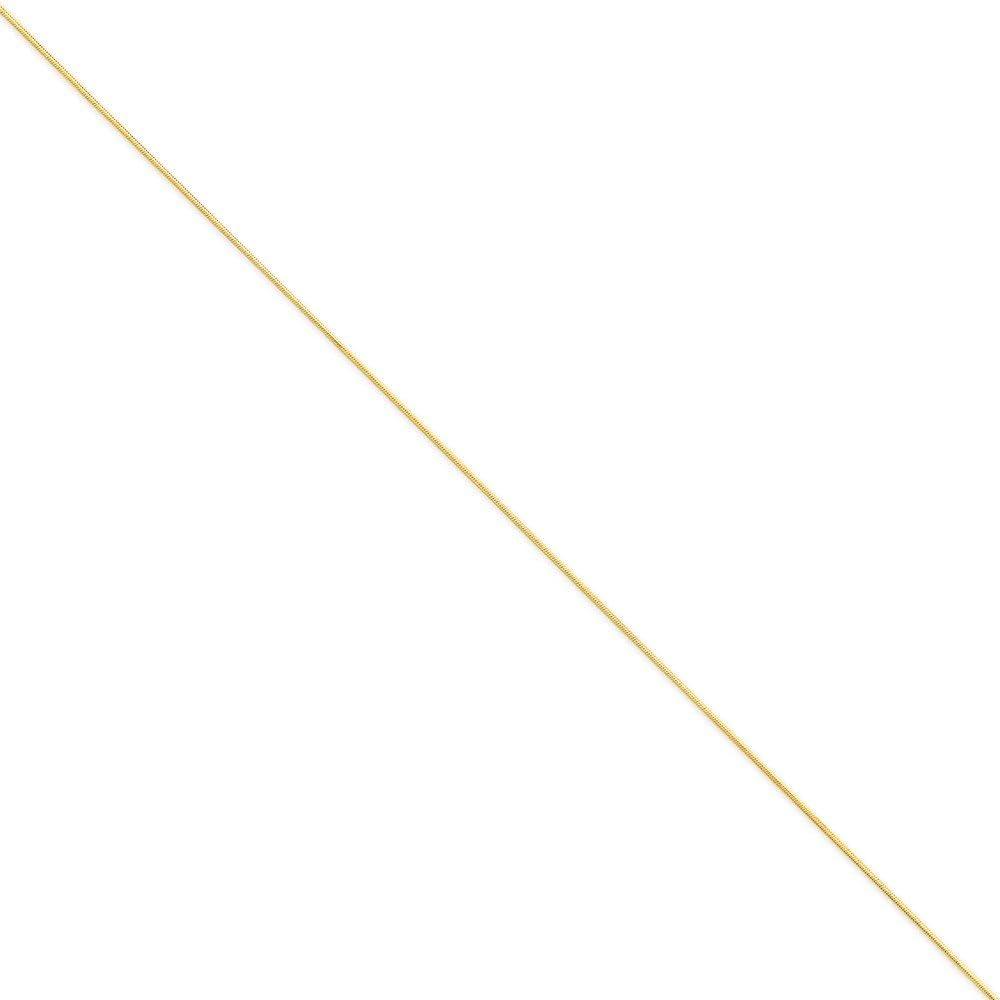Diamond2Deal 14k Yellow Gold 0.80mm Octagonal Snake Chain Anklet for Men Women