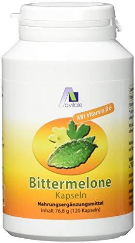Avitale Bittermelone Kapseln mit standardisiertem Frucht-Extrakt der Bittermelone (Momordica Charantia) u. Vitamin B6 für einen normalen Homocysteinspiegel, 120 Kapseln