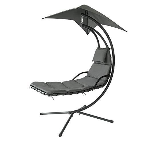 SoBuy OGS39-SG Schwebeliege mit Sonnenschirm Relaxliege Schwingliege Schaukelliege Hängesessel Hängeliege Sonnenliege Belastbarkeit 120kg grau BHT ca:...