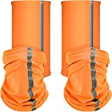 SATINIOR 4 Pieces Neck Gaiter Visibility Reflective Safety Bandana Sun Protection Face Scarf Dust Wind Balaclava Headwear Headband (Orange)