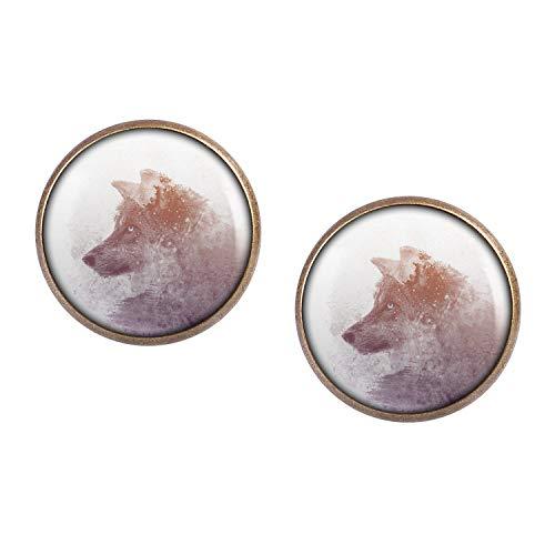 Orecchini coppia con motivo Lupo inverno foresta dipingere doppia esposizione bronzo 16mm