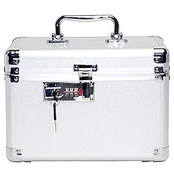 DOMOHO Combination Lock Box Security Lock Storage Box with Extra Emergency Backup Keys Small Silver