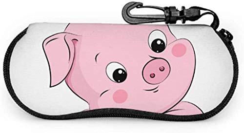 Unsual Happy Sweet Cartoon Fat Pig Soft Estuche para gafas para mujer Señoras Estuche para gafas de sol Ligero Estuche blando de neopreno portátil con cremallera Estuche para gafas para mujer