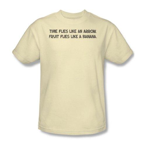 Zeit fliegt - Männer T-Shirt In Creme / Ivory, XXX-Large, Cream/Ivory