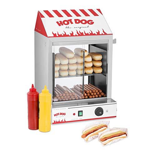 Royal Catering Cuiseur à Vapeur Hot-Dogs Machine Appareil a Hot Dog RCHW 2000 (2000 W, Capacité: 200 saucisses, 50 petits pains, Plage de température 30-110 °C, Vanne d'évacuation) Acier Inox