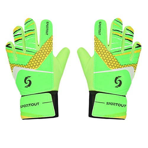 Sportout Kids Goalkeeper Gloves, Soccer Gloves with Double Wrist Protection and Non-Slip Wear Resistant Latex Material to Give Splendid Protection to Prevent Injuries (Green, 6)