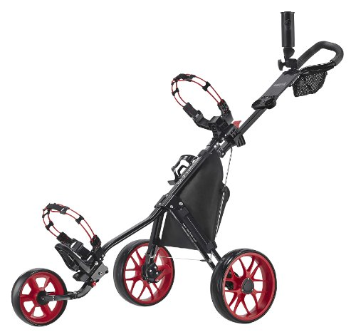 Caddytek CaddyLite Superlite 3 Wheel Golf Push Cart Carrito, Unisex, Negro Rojo