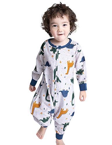 Neugeborene Overall Strampler Baby Schlafsack ganzjahres Schlafanzug ausbaubar Baumwolle Overall gefüttert Langarm Dinosaurier Muster 95-105CM