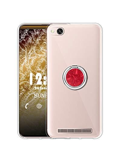 Sunrive Kompatibel mit Xiaomi Mi 4c Hülle Silikon, Transparent Handyhülle 360°drehbarer Ständer Ring Fingerhalter Fingerhalterung Schutzhülle Etui Hülle(rot) MEHRWEG