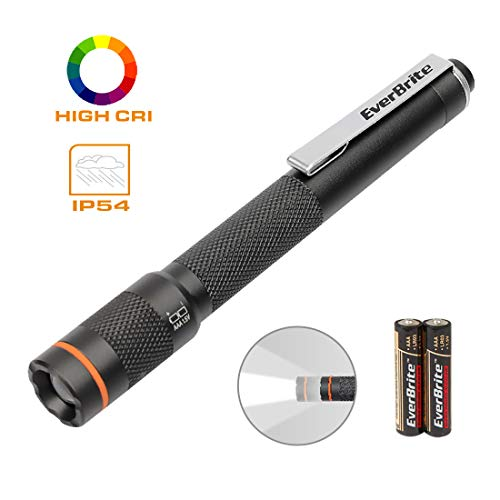 EverBrite Pen Light Flashlight - Pocket LED Penlight CRI90, Adjustable Focus High Lumen Pen Flashlight, Portable & Waterproof Small LED Flashlights, Powered by 2 AAA Alkaline Batteries Included