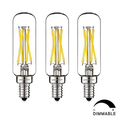 LEESANRAN 3 Pack Dimmable E12 Small Base Fan led Light Bulb Vintage Bulb T6/T8/T25 Tubular Candelabra Chandelier Light Bulb Tube Shape 2700K Warm 4W Equivalent 40w Retro Edison Design