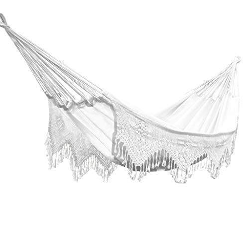 Hamaca para Acampar Tassel encaje swing hamaca blanco nórdico ocio al aire libre portátil columpio silla colgando camping interior y al aire libre jardín hamaca columpio Hamaca Columpio