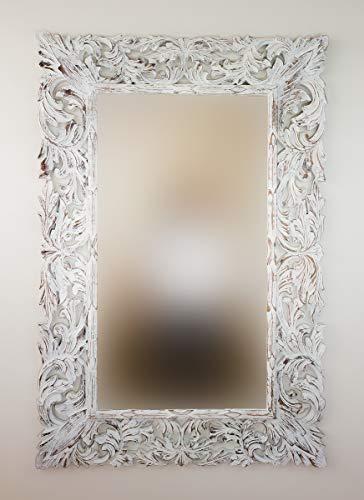 Rococo Espejo Decorativo de Madera Renaisance de 100x150cm en Blanco decapado