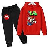 Aatensou Super Mario Bros, felpa con cappuccio e pantaloni da jogging con stampa 3D, per ragazzi e giochi di cartoon