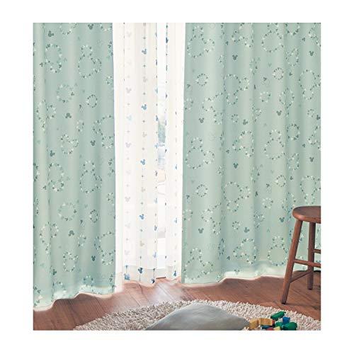 [ベルメゾン] ディズニー カーテン 遮光 遮熱 防音 裏地 グリーン 約100×120(2枚)