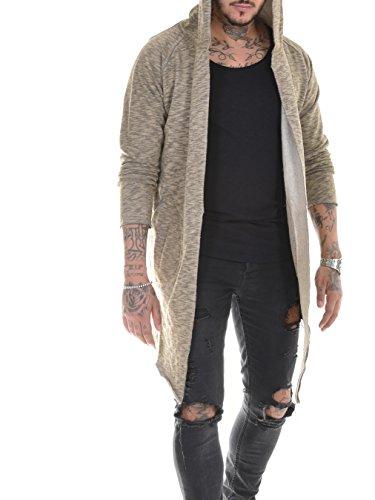 BAXMEN CULTWEAR Herren Cardigan Hoodie Destroyed Jacke Lang Strickjacke Hooded Long Sweatjacke Lang Vintage Slim Fit 172. Rust Brown X-Large