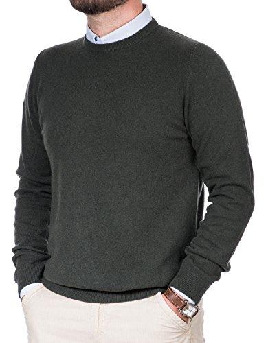 Maglione Uomo Puro Cashmere 100% Lana Pullover A Manica Lunga con Girocollo Soffice E Morbido (46 S, Verde)
