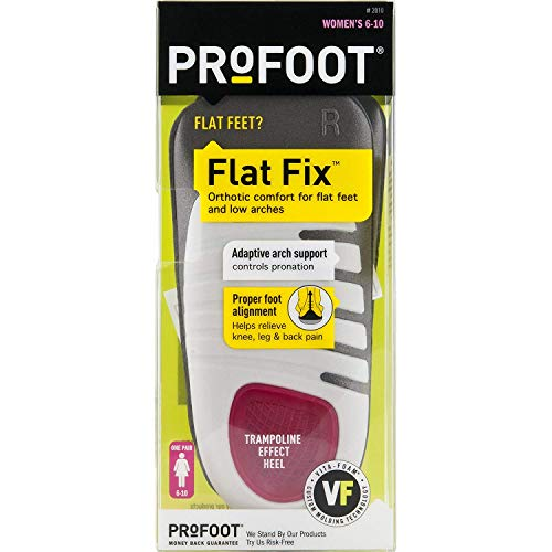 PROFOOT, Flat Fix Orthotic, Women's 6-10, 1 Pair, Orthotic Insoles for Flat Feet and Low Arches, Inserts Help Support Arch Heel, Lightweight, Absorbs Shock to Help Reduce Foot, Leg, Hip, Back Pain