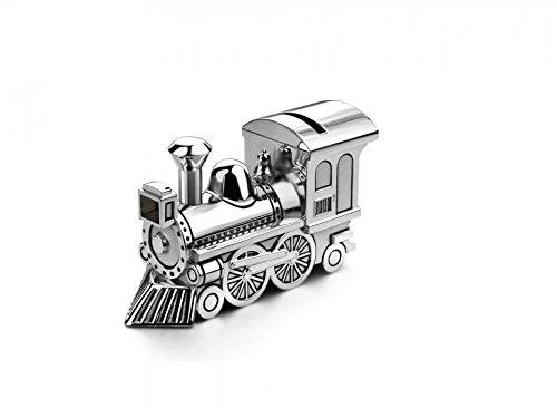 Brillibrum Design Spardose Zug Versilbert Anlaufgeschützt Mit Wunschgravur Eisenbahn-Sparbüchse Lokomotive Personalisiert