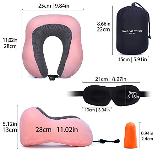 ネックピローU型首枕頚椎肩こり改善飛行機車旅行用トラベル枕携帯枕収納袋付(ライトピンク)